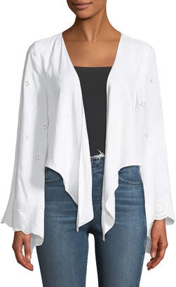 Neiman Marcus Flare-Sleeve Tie Front Eyelet Cardigan