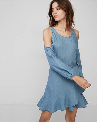 Express Cold Shoulder Ruffle Wrap Dress