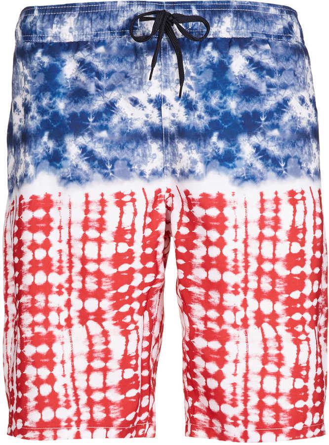 Topman Americana Tie Dye Swim Board Shorts
