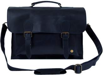 MAHI Leather - Leather Messenger Satchel Bag In Navy
