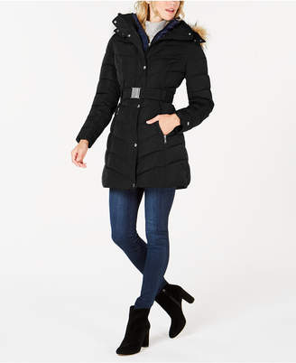 Tommy Hilfiger Petite Faux Fur Hooded Contrast Bib Belted Puffer Coat
