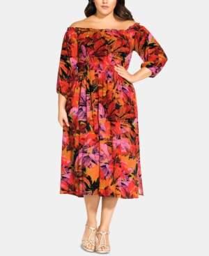 City Chic Trendy Plus Size Sunrise Off-The-Shoulder Dress