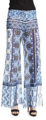 Fuzzi Wide-Leg Mixed-Print Pants $495 thestylecure.com