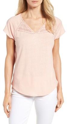 Women's Nydj Lace Trim Linen Blend Tee $58 thestylecure.com