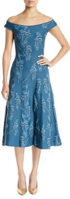 Zac Posen Off-the-Shoulder Floral-Jacquard Knit Cocktail Dress