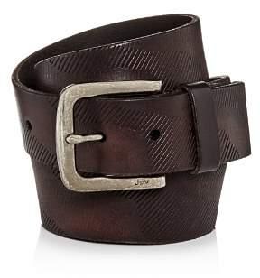 John Varvatos Embossed Camo-Print Leather Belt