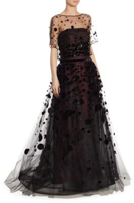 Carolina Herrera Embroidered Flocked Tulle Gown $7,990 thestylecure.com