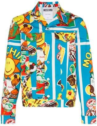 Moschino graphic print boxy fit denim jacket