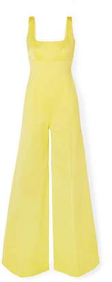 Emilia Wickstead Delta Cotton-blend Faille Jumpsuit - Yellow