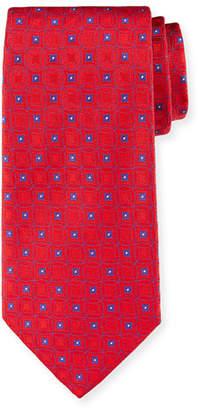 Emporio Armani Retro Pattern Silk Tie, Red