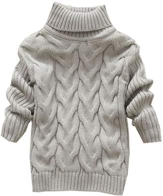 KINDOYO Boy Girls Kids Long Sleeve Turtleneck Sweater Tops Clothes