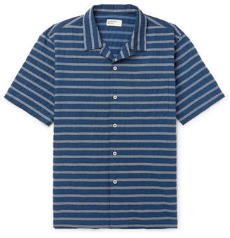 Universal Works Camp-Collar Striped Cotton-Blend Shirt
