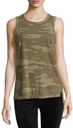 Current/Elliott The Muscle Tee Camo-Print Tank, Green Pattern