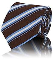 Bigi Men's Diagonal-Striped Silk Jacquard Necktie - Brown