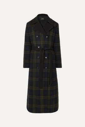Akris Elea Convertible Checked Wool And Quilted Silk Down Coat - Green