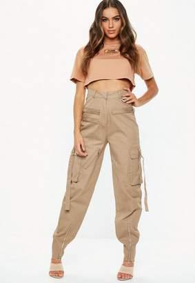 Missguided Fanny Lyckman X Camel Cargo Zip Utility Pants