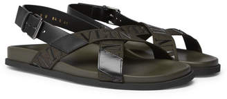 Valentino Garavani Logo-Detailed Leather and Webbing Sandals - Army green