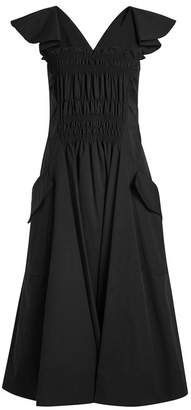 Carven Ruched Front Cotton Dress