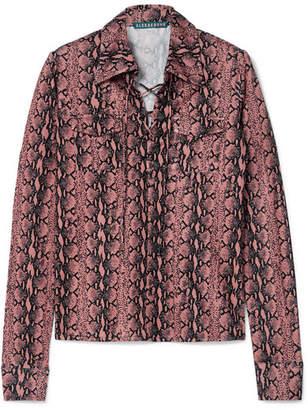 ALEXACHUNG Snake-print Satin-jersey Top - Pink