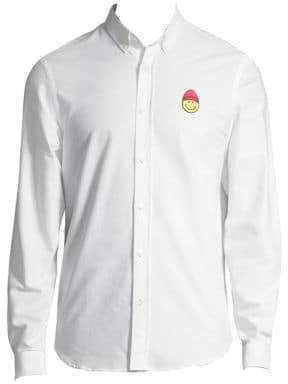 Ami Smiley Long-Sleeve Oxford Shirt