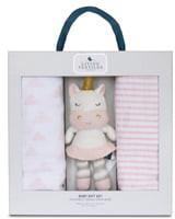 Living Textiles Baby Bento 2-Pack Swaddle Blankets & Kenzie Stuffed Animal Gift Set