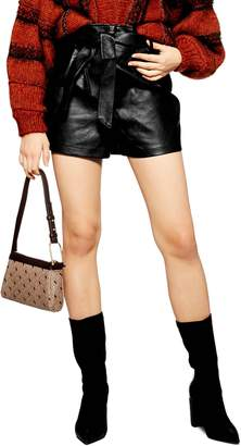 Topshop Tie Waist Faux Leather Shorts