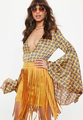 Missguided Yellow Faux Suede Fringe Mini Skirt
