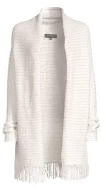 St. John Women's Textural Inlay Knit Cardigan - Cream - Size Large