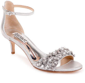 e2cfd650805b Badgley Mischka Lara Embellished Metallic Kitten-Heel Sandals