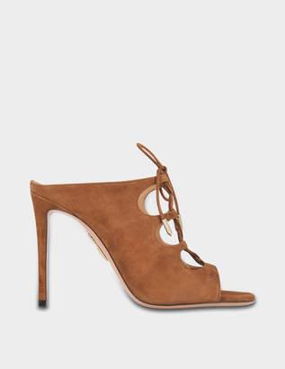 Aquazzura Flirt Mules 105 Shoes in Hazelnut Suede