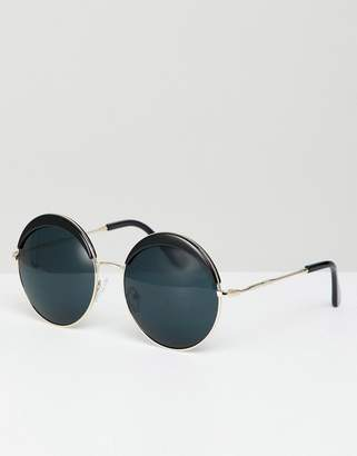 Jeepers Peepers Oversized Round Sunglasses In Black