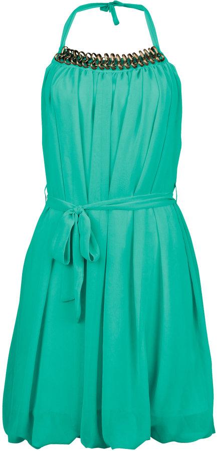 Aqua Rita Chain Halter Dress