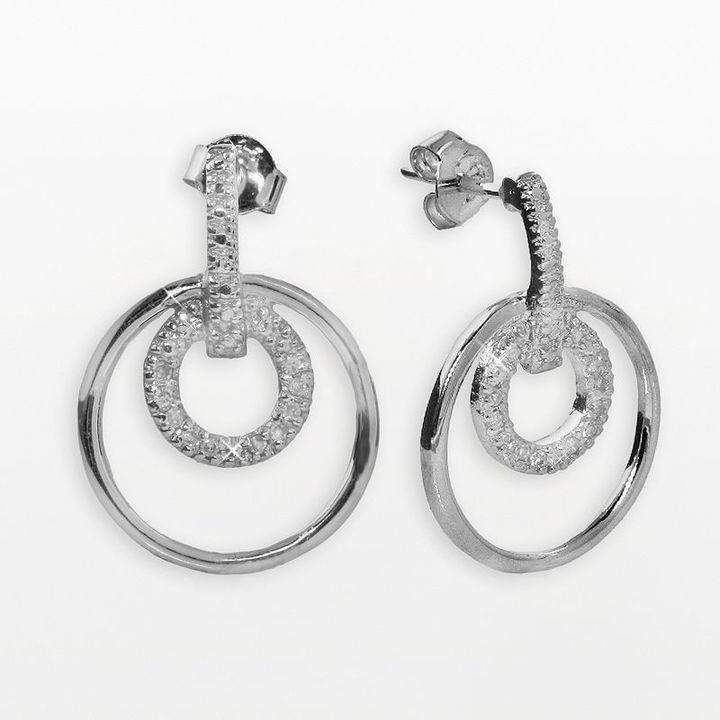Sterling silver 1/10-ct. t.w. diamond double-circle earrings
