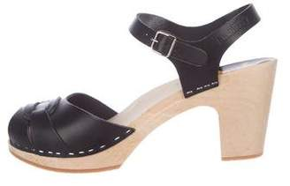 Swedish Hasbeens Leather Ankle Strap Sandals