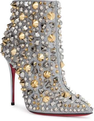 Christian Louboutin So Full Kate 100 silver glitter stud boots