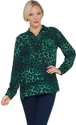 Dennis Basso Printed Woven Blouse with Lacing Detail
