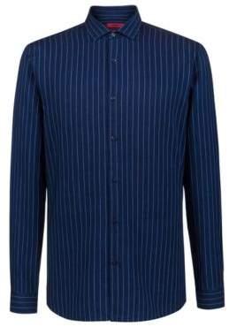 HUGO Boss Extra-slim-fit shirt in Italian denim pinstripes 14.5 Dark Blue