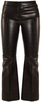 Alexander McQueen Cropped flared leather trousers