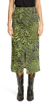 Ganni Tiger Print Denim Midi Skirt