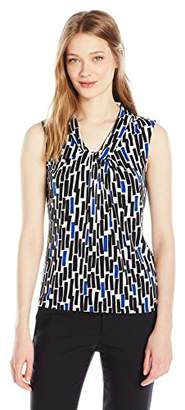 Calvin Klein Women's Sleeveless Matte Jersey Cami in Knot Neck in Geometric Print
