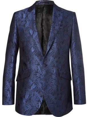 Favourbrook Navy Newport Slim-Fit Cotton And Silk-Blend Brocade Tuxedo Jacket