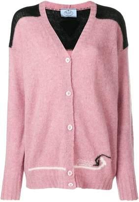 Prada logo knitted cardigan