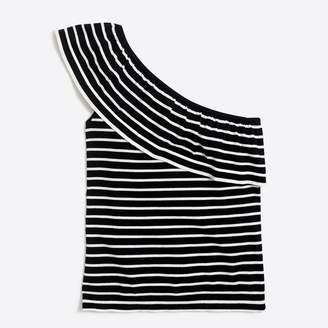 0a6d3cf2a71592 at J.Crew Factory · J.Crew Factory Striped one-shoulder ruffle sweater