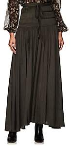 Ulla Johnson Women's Peat Pleated Washed Satin Midi-Skirt - Gray
