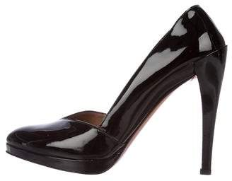 Alaia Patent Leather Round-Toe Pumps
