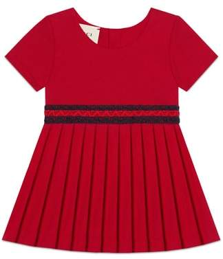 Gucci Stretch-Cotton Dress with Pleated Skirt