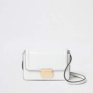 River Island White croc embossed mini cross body bag