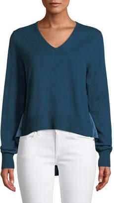 Elie Tahari Deangelo V-Neck Merino Wool Sweater w/ Contrast Back Hem