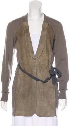 Brunello Cucinelli Leather Panel Silk Jacket w/ Tags