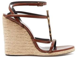 Saint Laurent Cassandra Monogram Leather Wedge Sandals - Womens - Tan